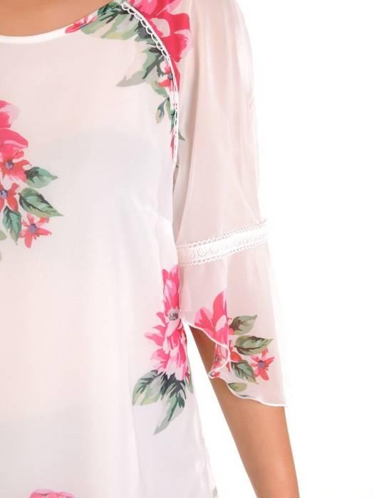 Zwiewna tunika z szyfonu w kwiatowy wzór 30217