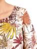 Rozkloszowana sukienka w kwiaty, kreacja z gumkami na rękawach 29528