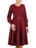 Rozkloszowana sukienka z dzianiny, bordowa kreacja z paskiem 23353