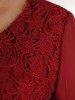 Bordowa bluzka z ozdobnym przodem 25363