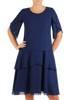 Brokatowa, granatowa sukienka maskująca biodra 26930
