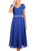 Chabrowa rozkloszowana sukienka z ozdobną aplikacją w pasie 31123