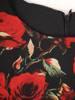 Czarna sukienka z asymetryczną narzutką w kwiaty 30169