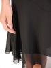 Czarna sukienka z szyfonu z falbanami na rękawach 30580