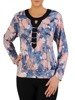 Dzianinowa bluzka damska z ozdobnym dekoltem 23925
