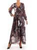 Elegancka sukienka maxi, kreacja z ozdobnymi rozcięciami na rękawach 27148