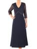 Granatowa sukienka wieczorowa z ozdobnym, tiulowym topem 31183