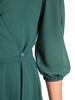 Kopertowa sukienka wyjściowa, zielona kreacja z paskiem 30598