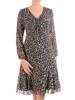 Luźna sukienka z szyfonu, kreacja z ozdobnym wiązaniem na dekolcie 30499