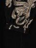 Mała czarna z dekoracyjnymi rękawami, kreacja ze złotym wykończeniem 23986