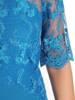 Morska sukienka wizytowa z tkaniny i koronki 30193