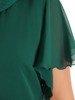 Oryginalna wizytowa sukienka, zielona kreacja z półgolfem 26781