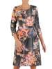 Prosta sukienka w kwiaty, kreacja z zamkiem przy dekolcie 27273