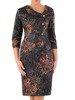 Prosta sukienka z ozdobnym kołnierzem, jesienna kreacja z guzikami 23663