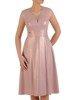 Pudrowa sukienka na wesele, nowoczesna kreacja wykończona brokatem 25391