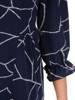Rozkloszowana granatowa sukienka, kreacja z gumkami na rękawach 28327