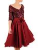 Rozkloszowana sukienka z kołnierzem, kreacja z cekinowym topem 31054