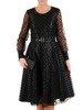 Rozkloszowana sukienka z koronki, czarna kreacja z paskiem 23461