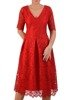 Rozkloszowana sukienka z koronki, modna kreacja z kontrafałdą 22638