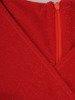 Rozkloszowana sukienka z połyskującej dzianiny, czerwona kreacja kopertowa 22868
