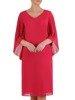 Sukienka damska, amarantowa kreacja z plisowanymi rękawami 25688