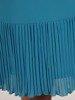 Sukienka koktajlowa, niebieska kreacja z ozdobnymi falbanami 26271