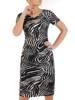 Sukienka w ciekawy wzór, prosty fason z dekoltem w serek 28817