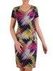 Sukienka w geometryczny wzór, prosty fason z dekoltem w serek 25718