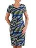 Sukienka w geometryczny wzór, prosty fason z dekoltem w serek 25726