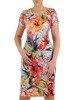 Sukienka w kwiaty, prosty fason z dekoltem w serek 25722