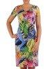 Sukienka w liście, prosty fason z dekoltem w serek 25956