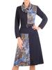 Sukienka z golfem, granatowa kreacja z paskiem 30864