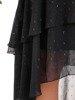 Sukienka z ozdobną szyfonową falbaną, czarna kreacja w tłoczenia  25332