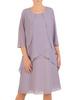 Szara sukienka z warstwowego szyfonu zdobiona cyrkoniami 30596