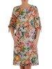Szyfonowa sukienka w kwiaty, kreacja z ozdobnymi rękawami 25796