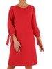 Trapezowa sukienka z szyfonu, kreacja z wiązaniem na rękawach 23421