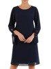 Trapezowa sukienka z szyfonu, kreacja z wiązaniem na rękawach 24435