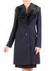 Wełniany płaszcz damski z efektownym futerkowym kołnierzem 30650