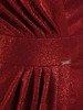 Wieczorowa sukienka kopertowa, bordowa kreacja z połyskiem 24213