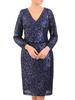 Wieczorowa sukienka z cekinów, kreacja z kopertowym dekoltem 30769