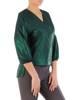 Zielona, połyskująca bluzka z przedłużanym tyłem 27969